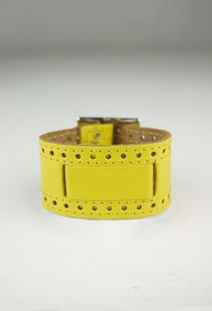 Leather Cuff - Yellow $32 via boutiika.com