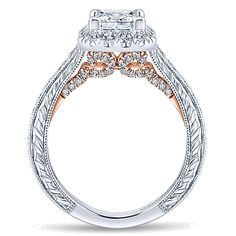 14k White/pink Gold Blush Style  Halo Engagement Ring