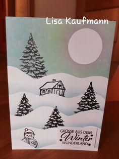 """Weihnachtskarte mit Designkarton Weiß, InkDecor Beere, Türkis & Grün, InkEffekt Anthrazit, GONIS Stempel """"Im Winterwald"""" Inspiration, Design, Quotes, Paper, Noel, Winter Time, Stamping, Xmas Cards, Paper Board"""