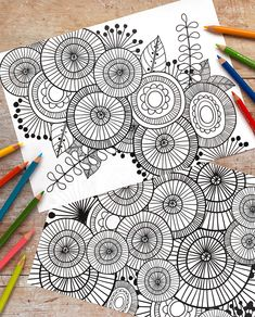 Zentangle Colouring Sheets - download these free abstract colouring pages and colour using your favourite art materials to enjoy a fun and relaxing colouring activity for kids and grown-ups alike! Free download from Kate Hadfield Designs. Zentangle Drawings, Zentangle Patterns, Zentangles, Colouring Sheets, Colouring Pages, Adult Coloring Pages, Doodle Inspiration, Bullet Journal Inspiration, Flower Doodles