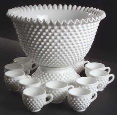 Dear God in Heaven! Fenton Hobnail Milk Glass Punch Bowl and Cups. Fenton Milk Glass, Fenton Glassware, Vintage Dishware, Vintage Dishes, Vintage Bowls, Vintage Pottery, Vintage China, Antique Dishes, Antique Glass