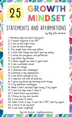 25 Growth Mindset Statements and Affirmations 25 Growth Mindset Statements and Affirmations,social skills 25 Growth Mindset Statements and Affirmations – Big Life Journal Related posts:Social Emotional Learning Shirt / Counselor Shirt / Teacher Shirts. Social Emotional Learning, Social Skills, Teaching Emotions, Emotions Activities, Haut Routine, Motivation Positive, Positive Mindset, Motivation For Kids, Positive Self Talk