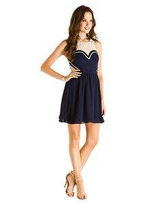 """Some of you have to get in on this: Greylin """"Avery"""" Navy & Lace Cutout Dress"""