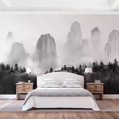Landscape Murals: Inspiration & Sources | Centsational Style Traditional Interior, Modern Interior, Interior Design, Wall Murals, Wall Art Decor, Forest Mural, Glam Bedroom, Black And White Landscape, House Goals