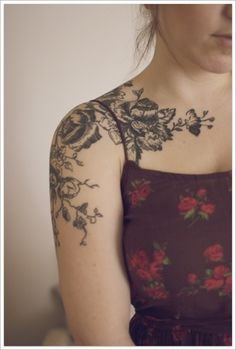 floral shoulder tattoo, front view; love the vintage print style. draw from inspiration.
