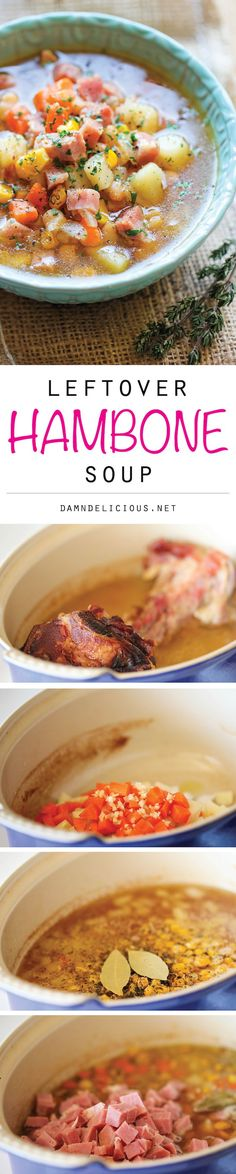 Leftover Hambone Soup - Use up your leftover hambone to make this cozy, hearty soup loaded with tons of veggies and chunks of sweet ham!
