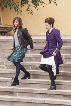 Jenna Coleman and Michelle Gomez on the set of Doctor Who Season 9 in Tenerife (February, 2015).