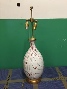 #637 (two) red/wht swirl lamps