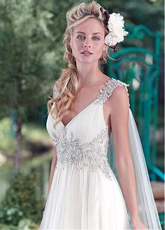 Elegant Tulle V-neck Neckline A-line Wedding Dresses With Embroidery