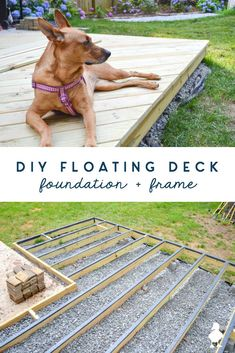 How to build a DIY floating deck (aka ground level deck) that is on a slope and partially over concrete - SO MUCH covered in what you need to know! The foundation and framing are the most important part: ground contact lumber, how to deal with a sloping yard, how to drill through concrete, how to keep water out and prevent wood rot, and so much more. #diy #deck #floatingdeck #groundlevel #construction #woodworking #outdoor #build #deckdesign #groundleveldeck #foundation #framing #uglyducklinghou