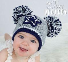 Crocheted DALLAS COWBOYS Hat cap beanie baby boy girl pom poms or ears f1ed8ee2d