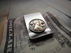 Stainless Steel Lucky Penny Money Clip - Handmade stainless steel billfold with a genuine 'lucky penny'.