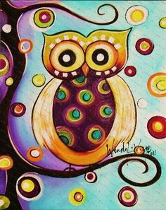 Whimsical owl design.  Actually very, very simple to paint and you can customize it with whatever colors you want!