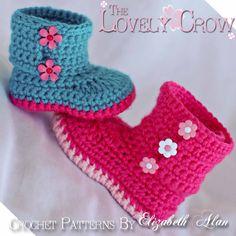 Au crochet, modèle de chaussons pour bébé jardin bottes - 4 tailles - nouveau-né à 12 mois. Digital
