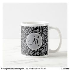 Monogram Initial Elegant Black Silver Damask Coffee Mug Initial Coffee Mugs, Monogram Initials, Custom Mugs, Damask, Black Silver, Tea Cups, Elegant, Wallpaper, Phone