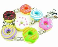 Fun Donut Bracelet Food Jewelry food bracelet by beadpassion Polymer Clay Miniatures, Polymer Clay Charms, Unique Gifts For Her, Gifts For Women, Dog Jewelry, Clay Jewelry, Cute Bracelets, Jewelry Bracelets, Bangles