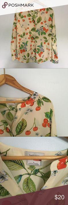 Van Heusen Cherry & Blossoms Print Popover Top MED Van Heusen Cherry & Blossoms Print Popover Top. Mint condition. Like new. Van Heusen Tops Blouses