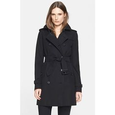 Burberry London 'Kensington' Double Breasted Trench Coat (7.175 BRL) ❤ liked on Polyvore featuring outerwear, coats, black, burberry coat, black coat, checkered coat, black belted coat and double breasted trench coat