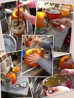 Mud kitchen pumpkin soup Natural Playground, Backyard Playground, Playground Ideas, Outdoor Classroom, Outdoor School, Pumpkin Soup Book, Fall Pumpkins, Halloween Pumpkins, Forest School Activities