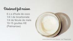 recette du déodorant maison et un pot Glass Of Milk, Tableware, Cacao, Zero Waste, Nature, Bullet Journal, Cosmetics, Diy, Women