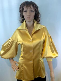 A personal favorite from my Etsy shop https://www.etsy.com/listing/253697151/golden-yellow-ballon-sleeve-satin