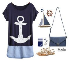 """""""Shein t shirt"""" by blueeyed-dreamer ❤ liked on Polyvore featuring Kate Spade, Casetify, Tattly, Bling Jewelry, contest, denim, Blue, Nautical and shein"""