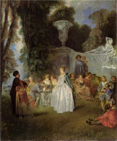 The Venetian Pleasures Translated title: The Venetian Festival., by artist Jean-Antoine Watteau. hand-painted museum quality oil painting reproduction on canvas. French Paintings, European Paintings, Rococo Painting, Painting Art, Jean Antoine Watteau, French Rococo, Rococo Style, National Gallery, Art Ancien