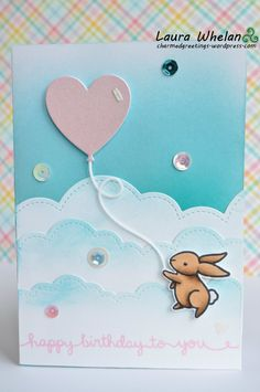 Bunny Birthday Balloon handmade card using Lawn Fawn's Yay, Kites!, Party Balloons, and Puffy Cloud Borders. Distress ink background.