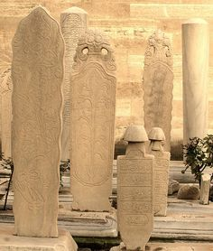 Tombstones at a Muslim cemetary in Istanbul, Turkey