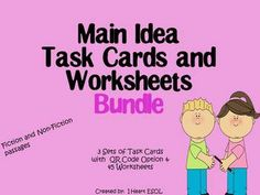 Main Idea Task Cards and Worksheets Bundle  ** Please note that the passages that are on the task cards are the same as the ones on the worksheets.  Please look at the preview to make sure these task cards and worksheets fit your needs.   ***Please make sure that you haven't purchased these items separately before purchasing the bundle.
