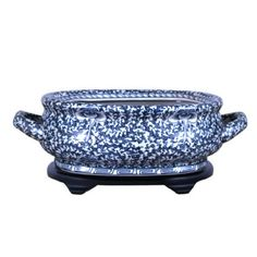 Beautiful Chinese Vintage Style Blue and White Porcelain Foot Bath Basin Chinoiserie Floral Motif with Base