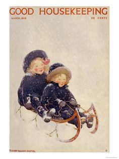 - 1910s Vintage Magazine Art - Good Housekeeping children sledding