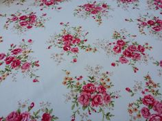 Cream Cotton vintage pink roses flowers print cotton Rose and Hubble print dress making sewing dress skirts bunting Supplies - PER METRE