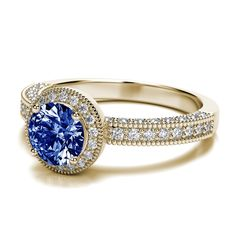 Victorian Vintage Round Cut Tanzanite Engagement Setting in 18k Yellow Gold (.60ctw) VS G-H