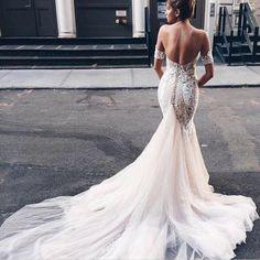 Sweetheart Open Back Watteau Train Mermaid Wedding Dress with White Lace Detachable Short Sleeves