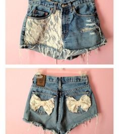 Blue jean shorts with lace added