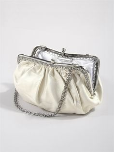 Classic bridal clutch in ivory lambskin with sparkling crsytal embellishments