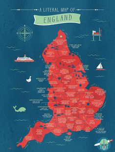 Literal Name Map Of Great Britain - England - Quick Quid History Reveal the hidden meaning of your county's name by finding it on this map Uk History, British History, History Facts, History Of England, Strange History, Asian History, Tudor History, European History, Ancient History