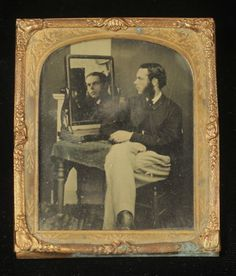 Unusual-1-6-pl-Ambrotype-Man-Seated-in-Profile-at-Table-Looking-into-Mirror