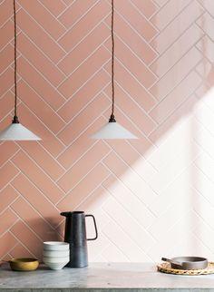 Discover how to style perfect pink tiles, from statement flooring to splashbacks. Shop pink marble, porcelain, mosaic tiles & more at Mandarin Stone. Living Room Tiles, Pink Ceramic Tile, Ceramic Wall Tiles, Mandarin Stone, Indoor Tile, Ceramic Tiles, Pink Tiles, Chevron Tile, Herringbone Tile Pattern