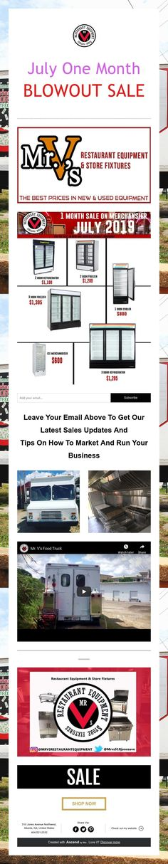 July One Month  BLOWOUT SALE Used Restaurant Equipment, Business Sales, Store Fixtures, One Month, Marketing, One Month Old