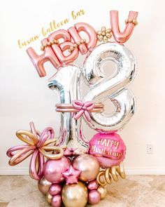 Birthday Balloon Decorations, Balloon Crafts, Birthday Balloons, Birthday Wishes Girl, 70th Birthday Parties, Balloon Flowers, Balloon Bouquet, Balloon Arrangements, Number Balloons