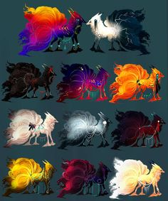 Nine-Tailed Fox Litter! by MischievousRaven on DeviantArt Cute Fantasy Creatures, Mythical Creatures Art, Mythological Creatures, Magical Creatures, Fox Fantasy, Fantasy Beasts, Fantasy Art, Cute Animal Drawings, Kawaii Drawings