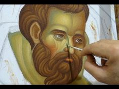 Painting the face in a Byzantine icon. By Theodoros Papadopoulos - YouTube
