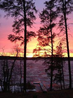 Winter sunset over a Minnesota lake.