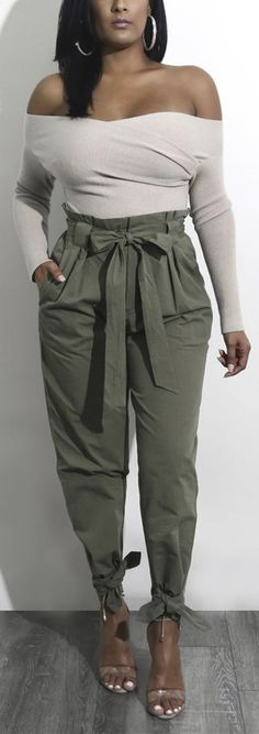 Women Street Belted High Waist Ankle Lace-up Casual Loose Pants