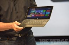 An interesting design with a keyboard  http://live.theverge.com/microsoft-live-blog-tablet-announcement/