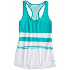 American Eagle Striped Favorite Tank ($15) ❤ liked on Polyvore featuring tops, shirts, tank tops, tanks, seagrass, blue striped shirt, blue tank, stripe shirt, striped tank top and blue striped tank top
