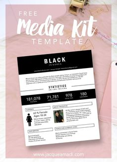 media kit template free Need a Media Kit Template? Here's a Free One! (Jacque of all . Social Media Trends, Social Media Marketing, Marketing Strategies, Email Marketing, Marketing Ideas, Kit Media, Flugblatt Design, Graphic Design, Social Media Packages