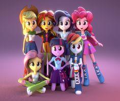 #781962 - 3d, applejack, artist:creatorofpony, blender, downloadable, equestria girls, fluttershy, humane seven, humane six, mane six, pinkie pie, posing, princess twilight, rainbow dash, rarity, safe, sunset shimmer, twilight sparkle - Derpibooru - My Little Pony: Friendship is Magic Imageboard